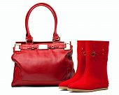 Pair of red felt boots and leather bag, with path
