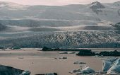 Glacier Lagoon In Iceland. Jokulsarlon Lagoon Beautfiul Shaped Icebergs Sunny poster