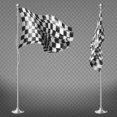 Vector Realistic Set Of Two Racing Flags On Steel Poles Isolated On Transparent Background. Checkere poster