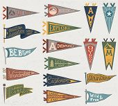 Set Of Adventure, Outdoors, Camping Colorful Pennants. Retro Labels On Textured Background. Hand Dra poster