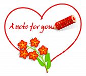 Love Note With Scarlet Pimpernel Flowers