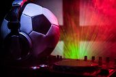 Soccer 2018 Club Party Concept. Close Up View Of Dj Deck With Selective Focus. Useful As Club Poster poster