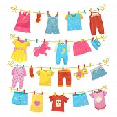 Children Clothes On Rope. Kids Bright Clothing Washed Is Hung Along The Line To Dry, Using Clothes P poster