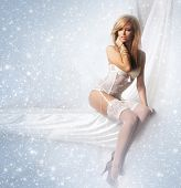 stock photo of silk lingerie  - Portrait of young and attractive girl in sexy lingerie over winter background - JPG