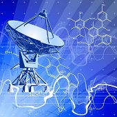 satellite dishes antenna (doppler radar), digital wave chemical formulas & blue technology backgroun