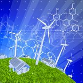 wind-driven generators, houses with solar power systems, blue sky, green grass & chemical formulas.