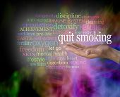 Please Consider Quitting Smoking Word Cloud - Male Hand With The Words Quit Smoking Floating Above S poster