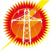 Icon of black high-tension transmission line silhouette