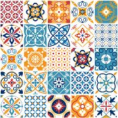 Portugal Seamless Pattern. Vintage Mediterranean Ceramic Tile Texture Retro Symmetrical Shapes Azule poster
