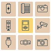 Hardware Icons Set With Media Device, Loudspeaker, Battery And Other Universal Serial Bus Elements.  poster