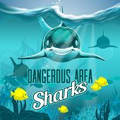 Sea Depth With Dangerous Sharks. Hires Vector File Eps 10. Layered And Editable poster