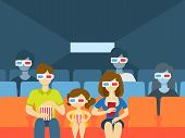 People In The Cinema Theater Watching Movie In 3d Glasses, Eating Pop Corn And Drinking Soda. Happy  poster