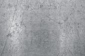 Worn Steel Sheet Background, Light Metal Texture With Scratches And Dents poster