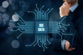 Big Data Analysis Concept. Businessman Or It Specialist With Abstract Symbol Of A Chip With Text Big poster