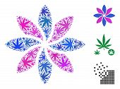 Abstract Flower Composition Of Hemp Leaves In Variable Sizes And Color Shades. Vector Flat Cannabis  poster