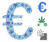Euro Symbol Composition Of Hemp Leaves In Various Sizes And Color Shades. Vector Flat Weed Leaves Ar poster