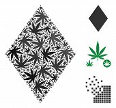 Filled Rhombus Composition Of Weed Leaves In Various Sizes And Color Hues. Vector Flat Weed Leaves A poster