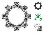 Gear Collage Of Weed Leaves In Different Sizes And Color Shades. Vector Flat Ganja Leaves Are Combin poster