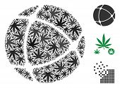 Internet Collage Of Cannabis Leaves In Different Sizes And Color Tones. Vector Flat Marijuana Leaves poster