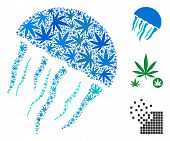 Jellyfish Mosaic Of Weed Leaves In Variable Sizes And Color Tones. Vector Flat Weed Items Are Organi poster