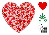 Love Heart Mosaic Of Weed Leaves In Various Sizes And Color Hues. Vector Flat Weed Icons Are Grouped poster