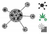 Network Links Composition Of Marijuana Leaves In Various Sizes And Color Variations. Vector Flat Mar poster