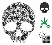 Skull Composition Of Marijuana Leaves In Different Sizes And Color Tints. Vector Flat Grass Symbols  poster
