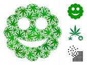 Smiled Sticker Collage Of Marijuana Leaves In Different Sizes And Color Shades. Vector Flat Marijuan poster
