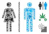 Toilet Persons Collage Of Marijuana Leaves In Variable Sizes And Color Tints. Vector Flat Grass Icon poster
