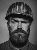 Man Builder. Business, Building Concept - Serious Builder In Hardhat. Engineers Working. Building, C poster