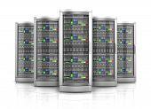 Network Workstation Servers 3D Illustration poster