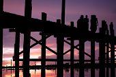 Myanmar, Amarapura, u-Bein-Brücke; atemberaubenden Sonnenuntergang von u-Bein-Brücke