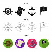 Pirate, Bandit, Rudder, Flag .pirates Set Collection Icons In Black, Flat, Outline Style Vector Symb poster