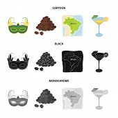 Brazil, Country, Mask, Carnival . Brazil Country Set Collection Icons In Cartoon, Black, Monochrome  poster