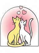 Two cats in love - hearts, romance. Artistic vector illustration