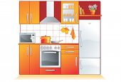Kitchen furnishing and appliances. Cupboard, built-in oven, stove, microwave, refrigerator, extracto