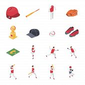 Baseball Game Sport Signs 3d Icons Set Isometric View Include Of Softball, Trophy, Shoe, Glove And H poster