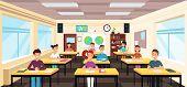 Pupils Study In Classroom Interior. Pupils In School Lesson Vector Concept. Study Classroom Interior poster