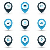 Internet Icons Colored Set With Down Arrow, Overcast, Talking And Other Location Elements. Isolated  poster