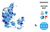 Denmark Map Collage Of Blue Triangle Elements In Variable Sizes And Shapes. Vector Polygons Are Grou poster