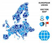 European Union Map Collage Of Blue Triangle Items In Various Sizes And Shapes. Vector Triangles Are  poster