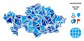 Kazakhstan Map Collage Of Blue Triangle Elements In Variable Sizes And Shapes. Vector Polygons Are G poster