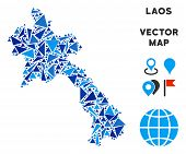 Laos Map Collage Of Blue Triangle Items In Variable Sizes And Shapes. Vector Polygons Are Arranged I poster