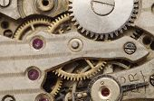 Old Retro Clockwork Background. Clock Watch Mechanism With Gray And Golden Gears. poster