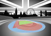 Stadium With London Skyline - Vector
