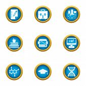 Scientific Man Icons Set. Flat Set Of 9 Scientific Man Vector Icons For Web Isolated On White Backgr poster