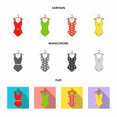 Different Kinds Of Swimsuits. Swimsuits Set Collection Icons In Cartoon, Flat, Monochrome Style Vect poster