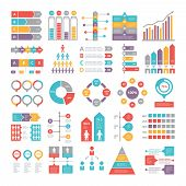 Charts, Graphs And Other Different Infographics Elements For Business, Colored Chart And Graph, Vect poster