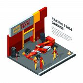 Race Car At Station. Isometric Composition Isolate On White. Sport Car Automobile, Team Machine Raci poster