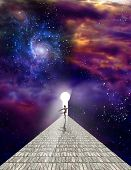 Dancer on stone road with keyhole in vivid universe. 3D rendering poster